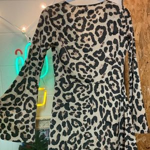 Flare Long Sleeve Cheetah Print Button Up Dress